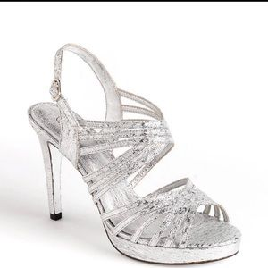 Adrianna Papell Aiden Silver Strappy Heels